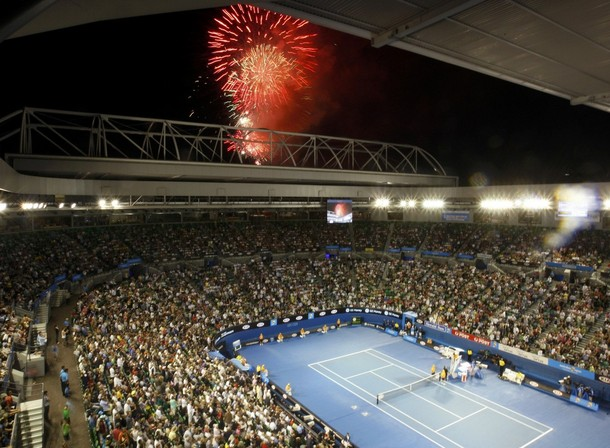Fireworks explode over the Rod Laver Arena in Melbourne
